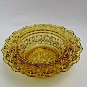 Amber Glass Peddle Stool Candy Nut Dish